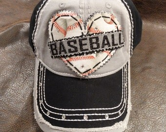 Baseball and bling lover distressed hat