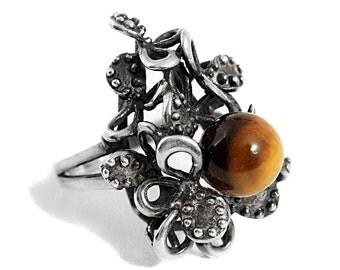 Silver Tigers Eye Ring