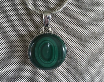 Malachite Gemstone Pendant Necklace in Sterling Silver Setting