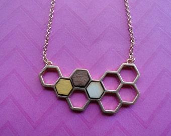 Honeycomb  octagon wood necklace set