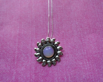 Moonstone opal  sunflower sterling silver necklace pendant
