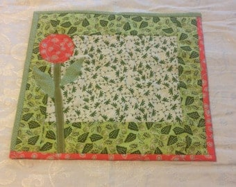 Lunch Mat or Tabble Topper Quilted Green Cotton with Applique