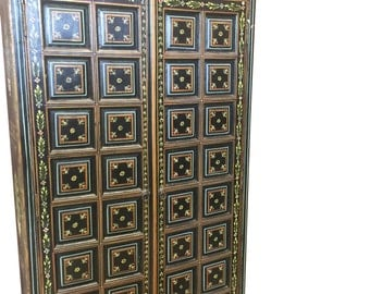 Floral PainTed Doors Reclaimed Antique Rajasthan Black Armoire Spanish Moroccan Mediterranean Boho Shabby Chic Interiors