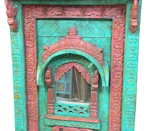 Antique Indian Arched Mirror Frame Jharokha Wall Decor Red Green Patina Asian Decor Accessories