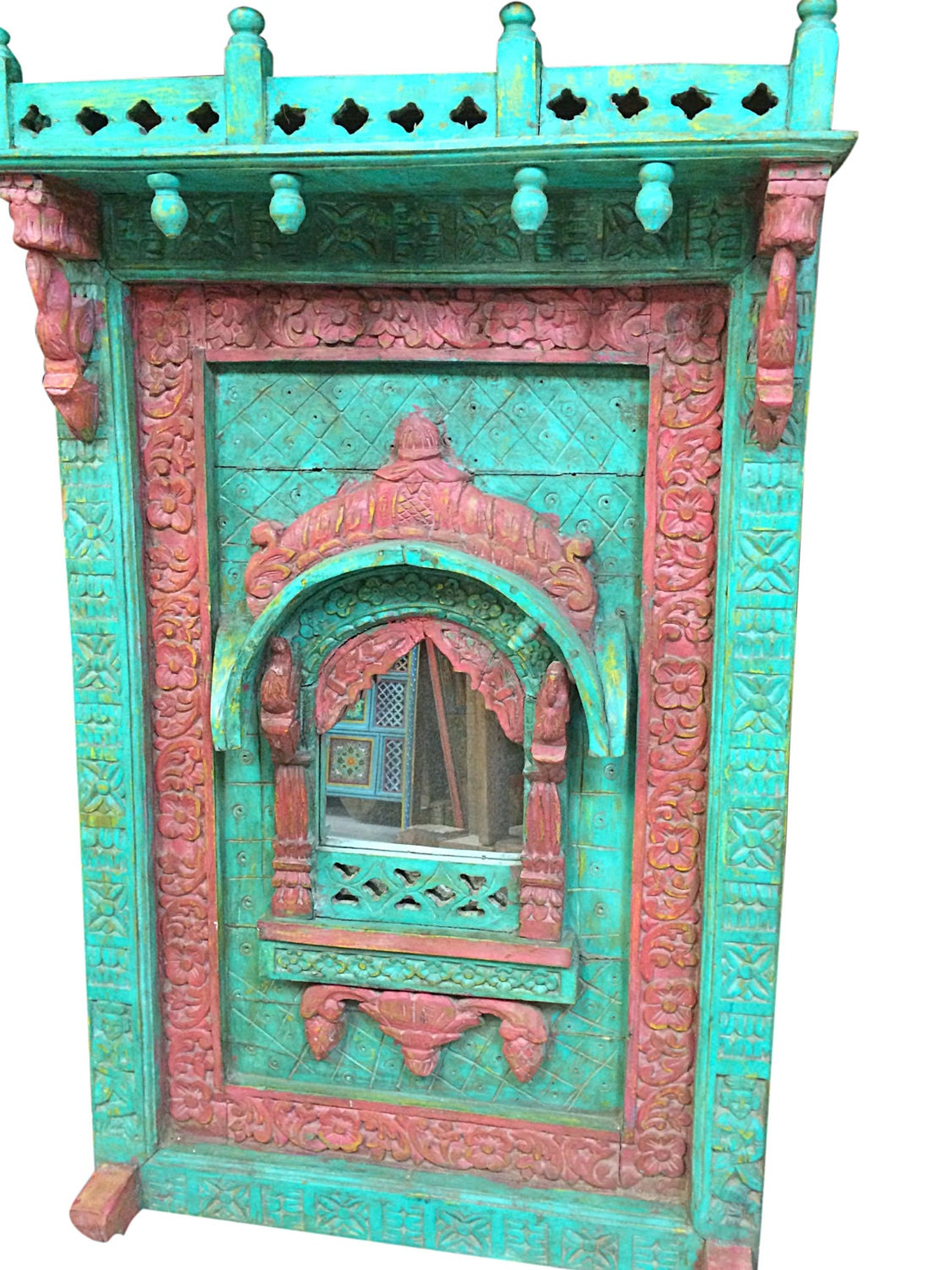 Antique Indian Arched Mirror Frame Jharokha Wall Decor Red