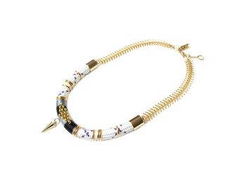 BIANCA - tribal choker necklace, gold choker, statement choker, ethnic choker, rope necklace, edgy necklace, rope jewelry, tribal necklace