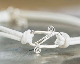 RESERVED for JENNY - SALE - White Bracelet, Infinity White Bracelet, Bracelet, Charm Sterling Bracelet Friendship  Adjustable Bracelet