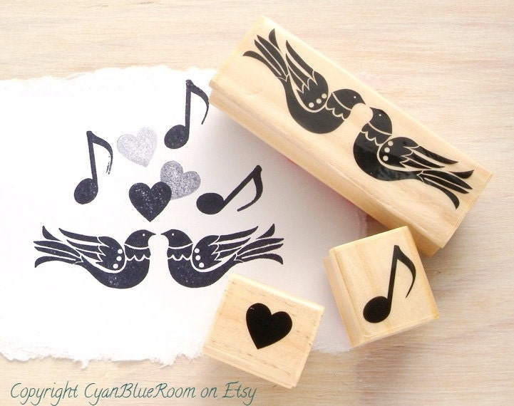 Two love birds heart musical note rubber stamps wedding for Wedding dress rubber stamp
