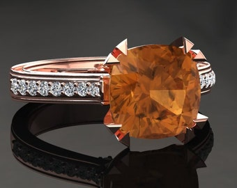 Citrine Engagement Ring Cushion Cut Citrine Ring 14k or 18k Rose Gold Matching Wedding Band Available W26CITRR