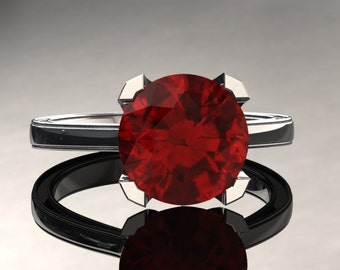 Ruby Engagement Ring Ruby Ring 14k or 18k White Gold Matching Wedding Band Available SW1RUBYW