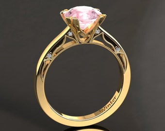 Morganite Engagement Ring Morganite Ring 14k or 18k Yellow Gold Matching Wedding Band Available W22MORGY