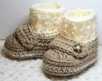 Loafer Booties with Socks-Tan & Cream- 6 wks to 3 m-Crocheted-Handmade with love.