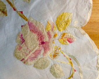 Society Silk Embroidery for Dresser or Table Top Early 20th Century