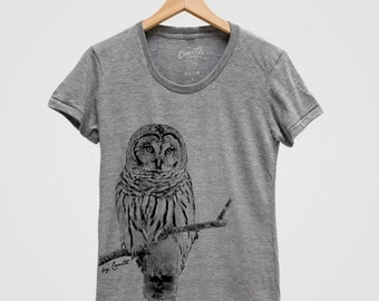 OWL Shirt Women Screen Print Tri-Blend Short Sleeve Tshirt Available: S , M , L , XL