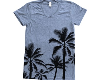 PALM TREE Shirt Women Screen Print Tri-Blend Short Sleeve Tshirt Available: S, M, L, XL