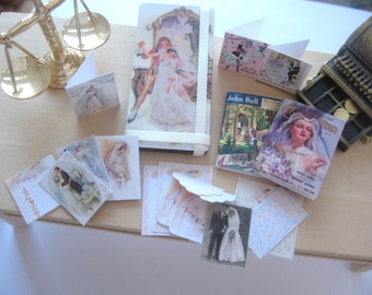 dollhouse wedding board cards letters photos vintage style 12th scale