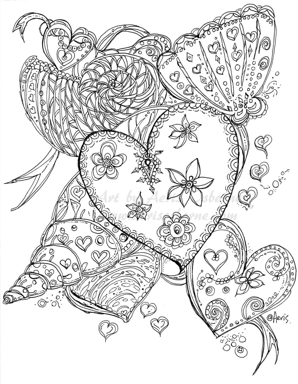 Ocean Seashells Printable Coloring Page Love Heart