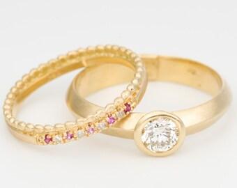 Wedding Ring Set, Unique Wedding Ring Set, Diamond Wedding Ring, Gold Stacking Rings, Edwardian Ring, Art Deco Ring,Solitair Engagement Ring
