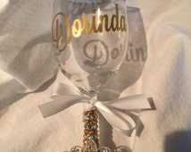 Bling Sparkle Rhinestone Wine Champagne Glass
