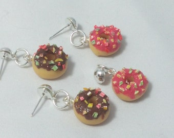 Doughnuts earrings Miniature food earrings  Miniature food jewelry Doughnuts earrings sweet earrings  miniature food clay woman earrings
