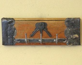 Shabby Chic Wall Key Holder with Three Upcycled Vintage Keys - Key Hanger, Key Rack