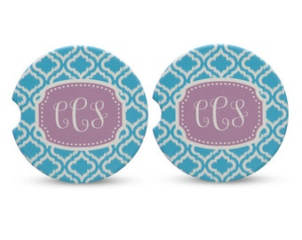 Monogrammed Car Coasters - Set of Two - Personalized Cup Holder Coaster