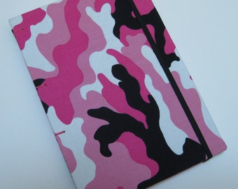 Handmade Journal - Pink Camo - Fabric, Textured - Lined Pages - Unique