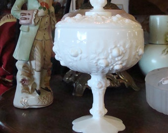 Fenton Cabbage Rose Milk Glass Covered Pedestal Candy Dish
