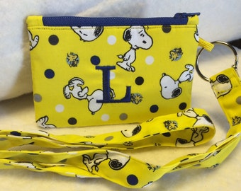 Peanuts Snoopy Personalized Coin Purse and ID Lanyard Key Chain
