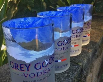 Grey Goose Glasses made from 1 Liter Grey Goose Bottles (set of 4)