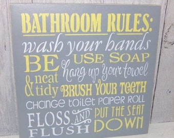 ON SALE Bathroom Rules Wash Your Hands Sign-Bathroom Sign-Change The Toilet Paper-Grey and Yellow Bathroom-Gray Yellow Bathroom Decor