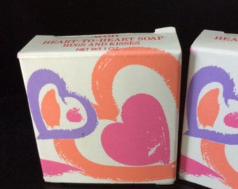 Avon heart to heart hugs and kisses boxed soap, pair, vintage bath