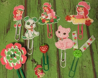 Strawberry Shortcake Paper Clips and Charm