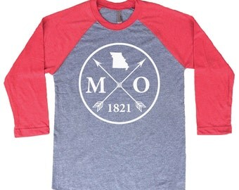 Homeland Tees Missouri Arrow Tri-Blend Raglan Baseball Shirt