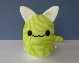 Cat Plush - Gumdrop Kitty: Lime Green Zebra Pattern