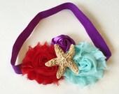 Ariel Headband - Little Mermaid Headband - Aqua Purple Red Headband - Starfish Headband - Sugar Starfish - Starfish Bow - Mermaid Birthday