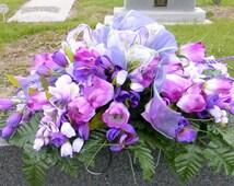 Headstone Saddle - Cemetery flowers - Gravesite spray - Memorial Day flowers - Funeral flowers - Headstone decoration - Grave marker