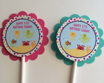 12 Girls Birthday Cupcake Toppers - Under The Sea Birthday Party Decorations