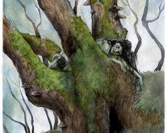 Tree-dweller - A3 fantasy art print
