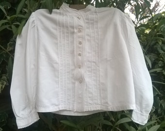 Victorian White Fleece Blouse Cotton Shirt Front Pleated French Handmade Sleeve Medium Large