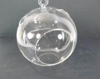 """Hanging Glass Terrarium,  Clear Glass Vase, Vase for Air Plant, Succulent Container, Fairy Hanging Terrarium 5 7/8"""" Diameter Free Shipping"""