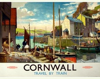 Art Print Cornwall, England, British Railways Travel Poster Print
