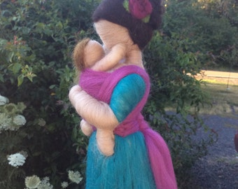 READY TO SHIP!!! Needle Felted Babywearing Mother Baby