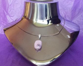 Pink Lampwork bead pendant