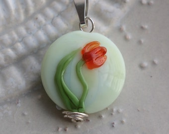 Tulip Glass Bead - Lampwork Focal Pendant - Handmade Glass Necklace