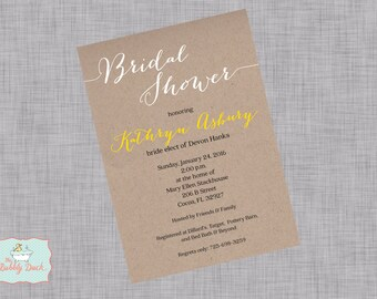 Rustic Kraft Paper Calligraphy Bridal Shower Invitation