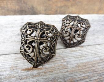 Shield Cross Metal Drawer Pull Knob ~ Antique Brass ~ Romantic Country Elegant ~ Old World