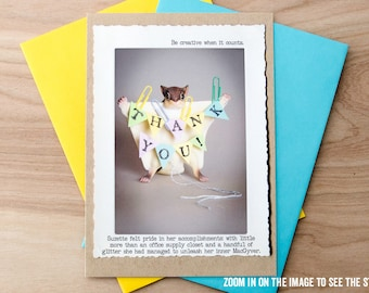 Funny Thank You Card • Flying Squirrel MacGyver Card • Appreciation Card • Gift for Teacher • Animal Tales Card • Miniature Animal Card