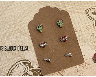 3 Pairs of Cowboy Texan Post Earrings Stud Earrings sets