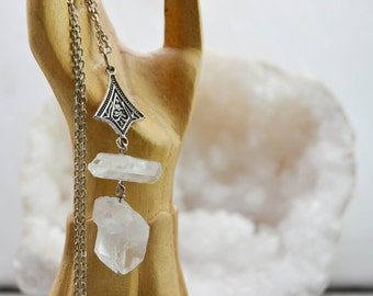 "Raw quartz necklace tips and Connector ""mystical"""